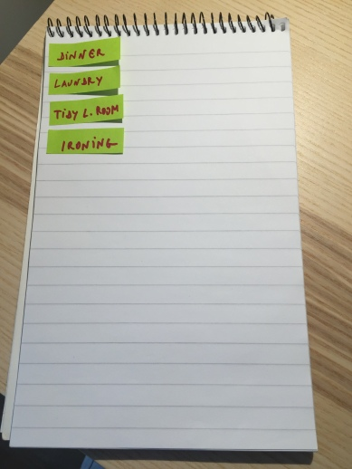 Place the notes on the left side of a notepad or a note book